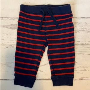6-12 month red and navy striped pants